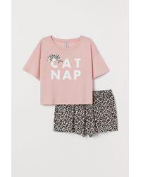 H&M Pajama Top And Shorts - Pink
