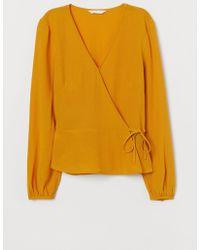 H&M Jacquard Weave Wrapover Blouse - Yellow