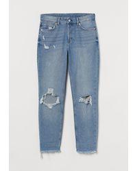 H&M Boyfriend Low Regular Jeans - Bleu