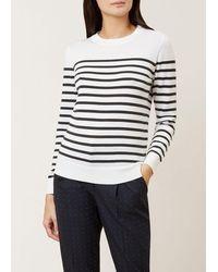 Hobbs Striped Penny Merino Wool Jumper - White