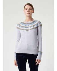Hobbs Greta Fair Isle Wool Blend Sweater - Gray