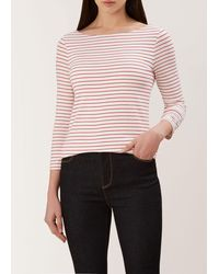 Hobbs Striped Sonya Double Fronted Top - Red