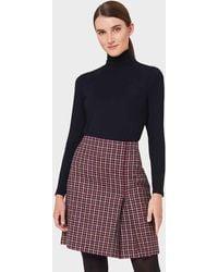Hobbs Avery Wool Check Pleated Skirt - Pink