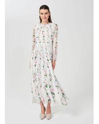 Hobbs Rosabelle Silk Floral Dress - White