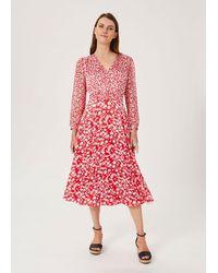 Hobbs Rosie Floral Print Midi Dress - Red