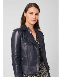Hobbs Dakota Leather Jacket - Blue