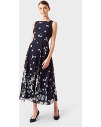 Hobbs Carly Floral Midi Dress - Blue
