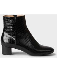 Hobbs Sadie Crocodile Block Heel Ankle Boots - Black