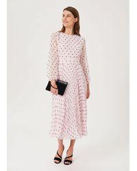 Hobbs Selena Spot Pleated Dress - Pink