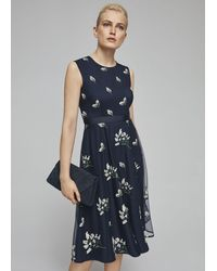 Hobbs Petitie Julia Embroidered Floral Dress - Blue
