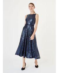 Hobbs Carly Sequin Dress - Blue