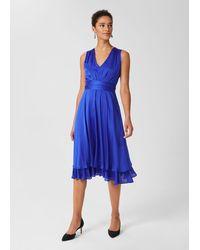 Hobbs Viola V Neck Dress - Blue