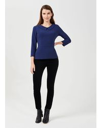 Hobbs Laurie Collared Top - Blue
