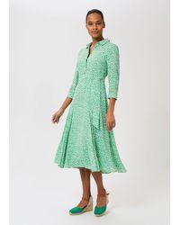 Hobbs Frederica Floral Midi Dress - Green