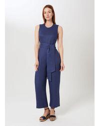 Hobbs Gabbie Linen Cropped Jumpsuit - Blue