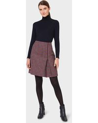 Hobbs Avery Wool Check Pleated Skirt - Pink