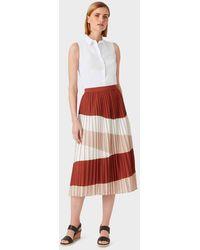 Hobbs Bess Stripe Midi Skirt - Red