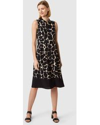 Hobbs Suzanna Animal Fit And Flare Dress - Black
