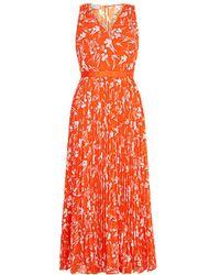 Hobbs - Orange Floral Print 'lilah' Midi Tea Dress - Lyst