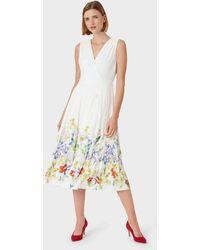Hobbs Summer Floral V Neck Midi Dress - White