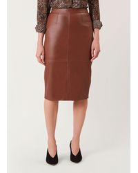 Hobbs Thea Leather Skirt - Brown