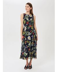 Hobbs Petite Carly Floral Midi Dress - Blue