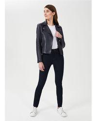 Hobbs Tania Leather Jacket - Blue