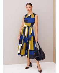 Hobbs Alba Colourblock Midi Dress - Blue