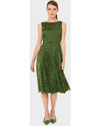Hobbs Adaline Jacquard Fit And Flare Dress - Green