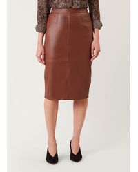 Hobbs Thea Leather Skirt - Brown
