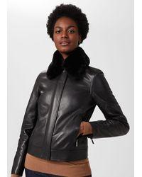 Hobbs Sera Leather Jacket - Black