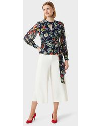 Hobbs Meadow Floral Wrap Blouse - Blue