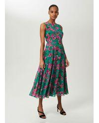 Hobbs Carly Floral Midi Dress - Green