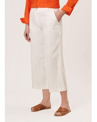 Hobbs Nicole Cropped Linen Trousers - White