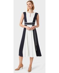 Hobbs Rae Colourblock Fit And Flare Dress - Blue