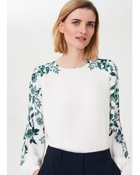Hobbs Zoey Floral Puff Sleeve Blouse - Blue
