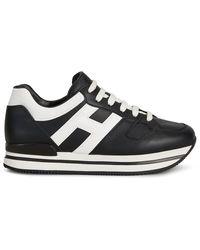 Hogan H222 Leather Trainers - Black