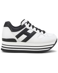Hogan H222 Black And White Leather Trainers