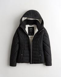 Hollister Sherpa-lined Puffer Jacket - Black