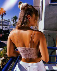 Hollister Gilly Hicks Lace-back Seamless Longline Bralette - Pink