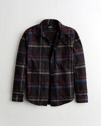 Hollister Plaid Flannel Shirt - Black