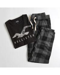 Hollister Logo Flannel Pant Sleep Set - Multicolour