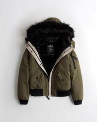 Hollister Cozy-lined Bomber Jacket - Green