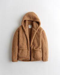 Hollister Oversized Sherpa Hoodie - Brown