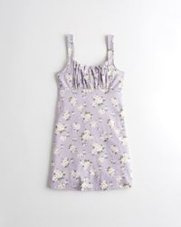 Hollister Ruched Knit Mini Dress - Purple