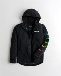 Hollister Mesh-lined Full-zip Windbreaker - Black