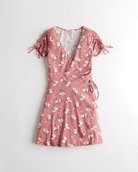 Hollister Cinch-sleeve Knit Mini Wrap Dress - Pink