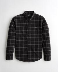 Hollister Stretch Poplin Muscle Fit Shirt - Black