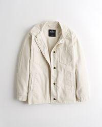 Hollister Oversized Corduroy Shirt Jacket - Natural