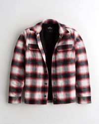 Hollister Flanell-Hemdjacke mit Sherpa-Futter - Rot